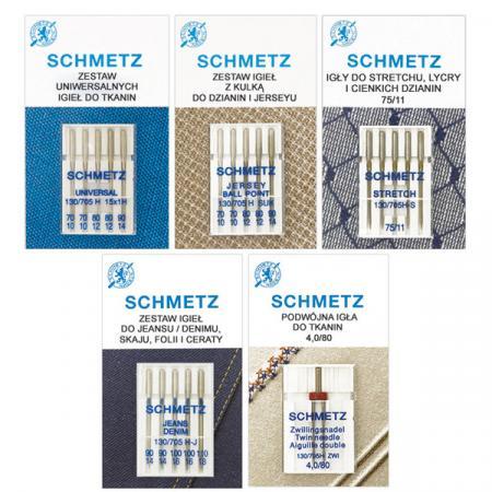 Zestaw igieł Schmetz do tkanin, dzianin, stretchu, jeansu i igła podwójna, fig. 1