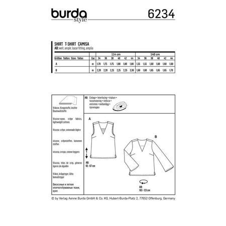 Wykrój BURDA: bluzka itop zdekoltem wszpic, fig. 9