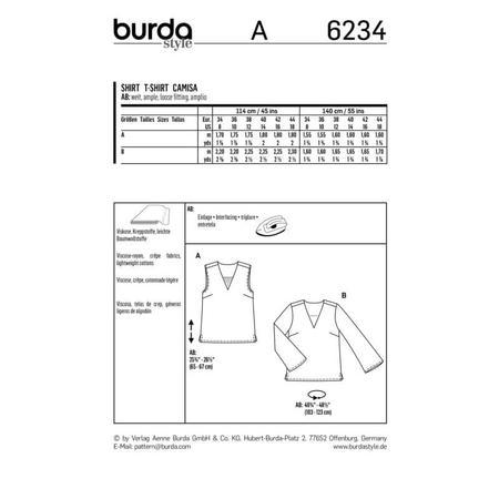 Wykrój BURDA: bluzka itop zdekoltem wszpic, fig. 10
