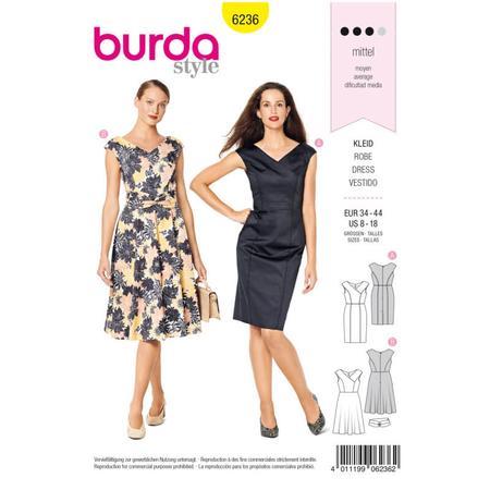 Wykrój BURDA: sukienka zefektem kopertowym, dekoltem wszpic i obniżoną linią ramion, fig. 1