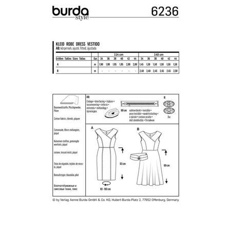 Wykrój BURDA: sukienka zefektem kopertowym, dekoltem wszpic i obniżoną linią ramion, fig. 8