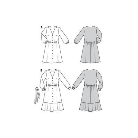 Wykrój BURDA: sukienka zzapięciem na guziki, o kroju koszulowym, zdekoltem wszpic, fig. 10