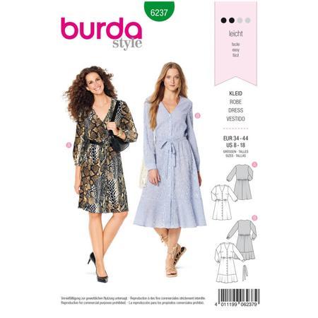 Wykrój BURDA: sukienka zzapięciem na guziki, o kroju koszulowym, zdekoltem wszpic, fig. 1