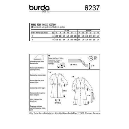 Wykrój BURDA: sukienka zzapięciem na guziki, o kroju koszulowym, zdekoltem wszpic, fig. 8