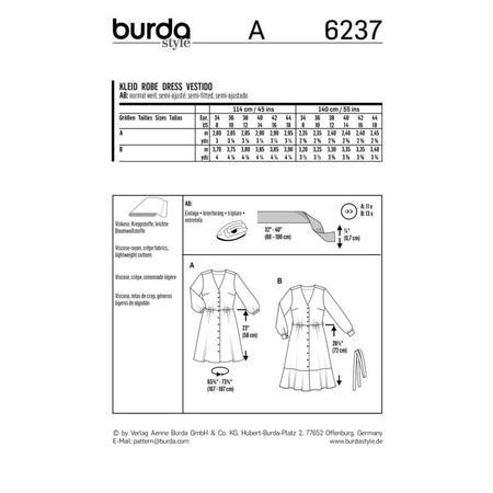 Wykrój BURDA: sukienka zzapięciem na guziki, o kroju koszulowym, zdekoltem wszpic, fig. 9