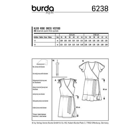 Wykrój BURDA: sukienka kopertowa z marszczeniami na ramionach, fig. 8