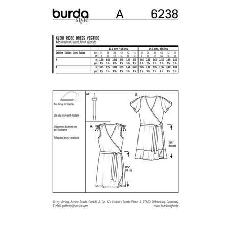 Wykrój BURDA: sukienka kopertowa z marszczeniami na ramionach, fig. 9
