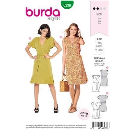 Wykrój BURDA: sukienka kopertowa z marszczeniami na ramionach, fig. 1