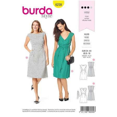 Wykrój BURDA: sukienka zpanelem wtalii i obniżoną linią ramion, fig. 1
