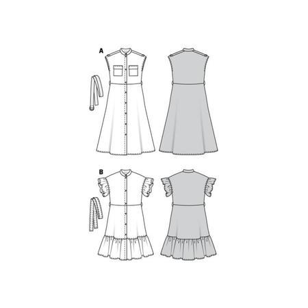 Wykrój BURDA: sukienka zzapięciem na guziki, stójką ifalbankami, fig. 10