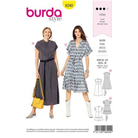 Wykrój BURDA: sukienka zzapięciem na guziki, stójką ifalbankami, fig. 1