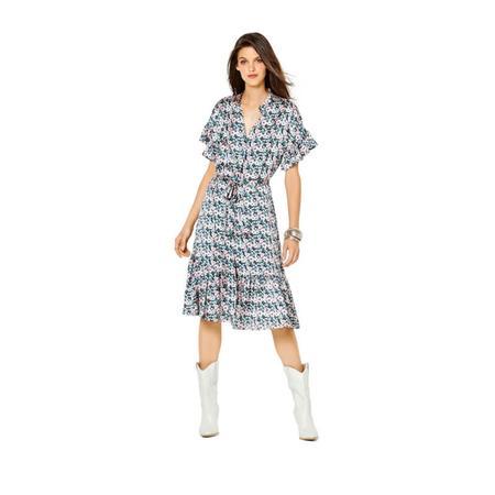 Wykrój BURDA: sukienka zzapięciem na guziki, stójką ifalbankami, fig. 2