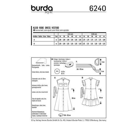 Wykrój BURDA: sukienka zzapięciem na guziki, stójką ifalbankami, fig. 8