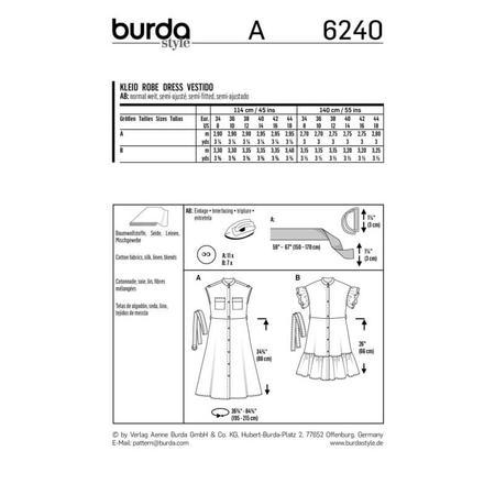Wykrój BURDA: sukienka zzapięciem na guziki, stójką ifalbankami, fig. 9