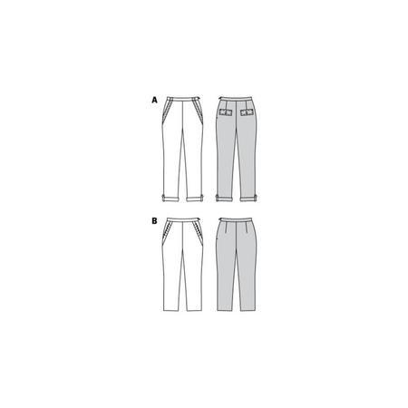 Wykrój BURDA: spodnie zzamkiem zboku, kieszeniami wkarczkach biodrowych ipodwinięciem, fig. 10
