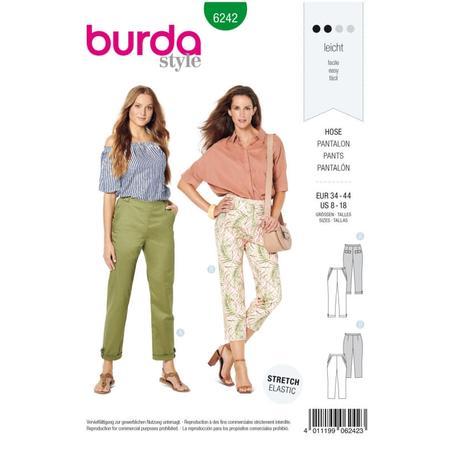 Wykrój BURDA: spodnie zzamkiem zboku, kieszeniami wkarczkach biodrowych ipodwinięciem, fig. 1