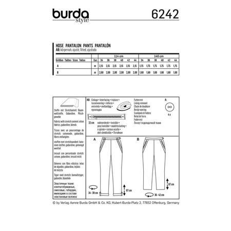 Wykrój BURDA: spodnie zzamkiem zboku, kieszeniami wkarczkach biodrowych ipodwinięciem, fig. 8