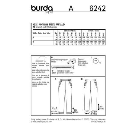 Wykrój BURDA: spodnie zzamkiem zboku, kieszeniami wkarczkach biodrowych ipodwinięciem, fig. 9
