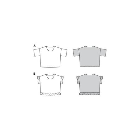 Wykrój BURDA: bluzka zokrągłym dekoltem i falbankami, krój pudełkowy, fig. 10