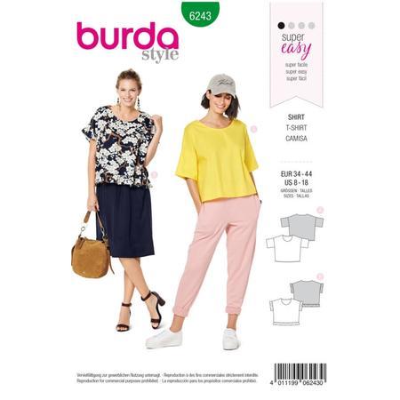 Wykrój BURDA: bluzka zokrągłym dekoltem i falbankami, krój pudełkowy, fig. 1