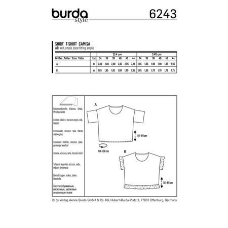 Wykrój BURDA: bluzka zokrągłym dekoltem i falbankami, krój pudełkowy, fig. 8