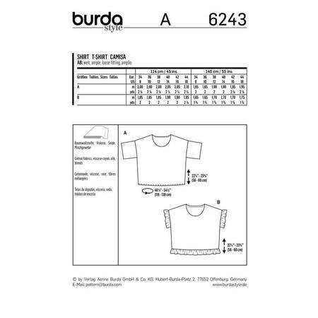 Wykrój BURDA: bluzka zokrągłym dekoltem i falbankami, krój pudełkowy, fig. 9