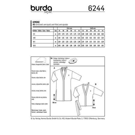 Wykrój BURDA: kimono, płaszcz iżakiet, fig. 8