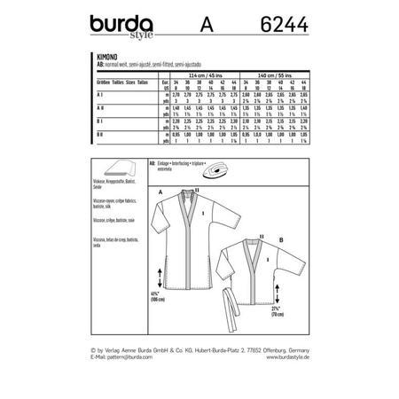Wykrój BURDA: kimono, płaszcz iżakiet, fig. 9