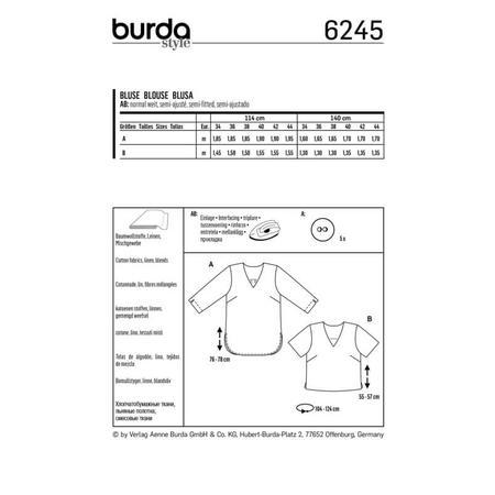 Wykrój BURDA: bluzka itunika zdekoltem wszpic i zapięciem na guziki ztyłu, fig. 9