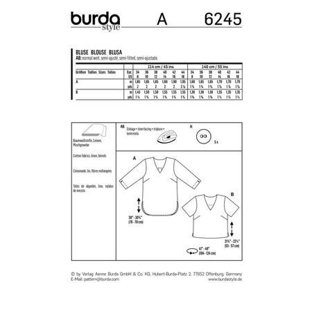 Wykrój BURDA: bluzka itunika zdekoltem wszpic i zapięciem na guziki ztyłu, fig. 10