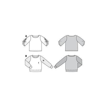Wykrój BURDA: bluzka ibluza z okrągłym dekoltem i ciekawymi, szerokimi rękawami, fig. 10