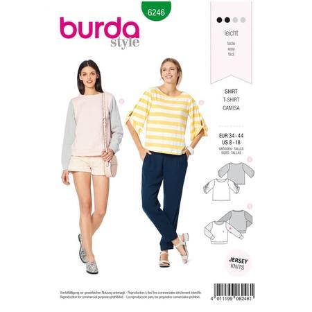 Wykrój BURDA: bluzka ibluza z okrągłym dekoltem i ciekawymi, szerokimi rękawami, fig. 1