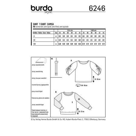 Wykrój BURDA: bluzka ibluza z okrągłym dekoltem i ciekawymi, szerokimi rękawami, fig. 8