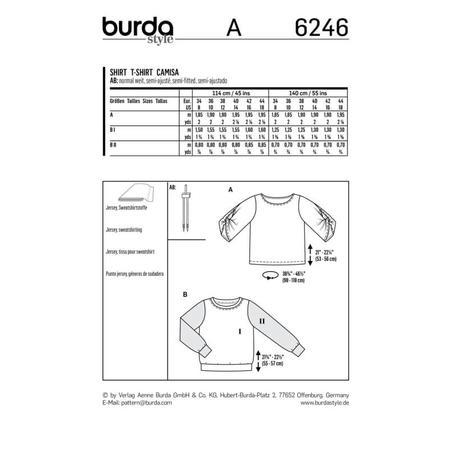 Wykrój BURDA: bluzka ibluza z okrągłym dekoltem i ciekawymi, szerokimi rękawami, fig. 9