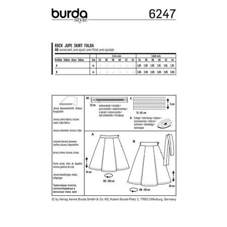 Wykrój BURDA: spódnica zzakładkami o rozszerzanym kroju, fig. 8