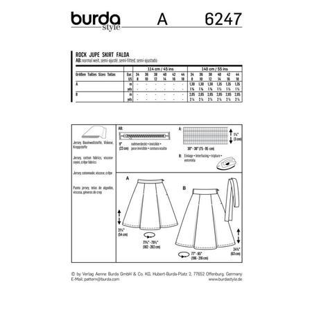 Wykrój BURDA: spódnica zzakładkami o rozszerzanym kroju, fig. 9