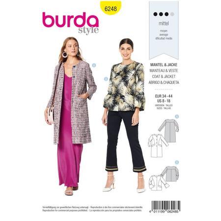 Wykrój BURDA: płaszcz imarynarka bez kołnierza, fig. 1