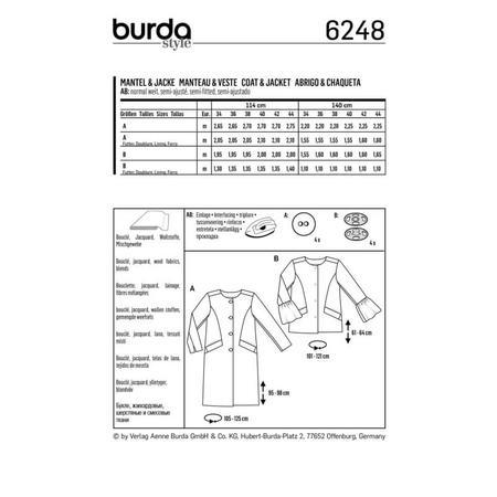 Wykrój BURDA: płaszcz imarynarka bez kołnierza, fig. 8