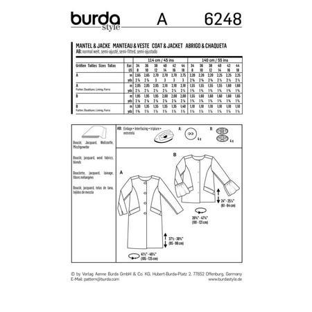 Wykrój BURDA: płaszcz imarynarka bez kołnierza, fig. 9