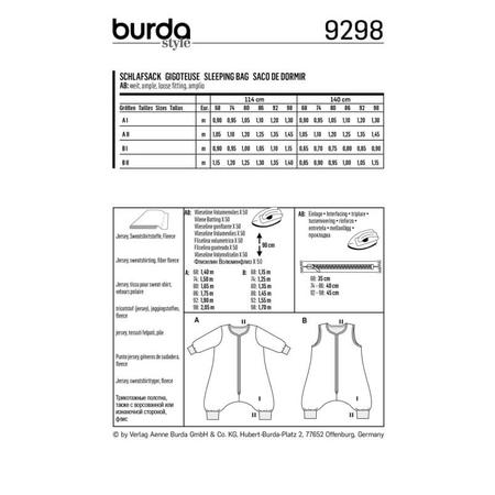 Wykrój BURDA: śpiwór znogawkami, śpiwór - kombinezon, fig. 8