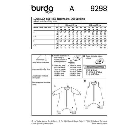 Wykrój BURDA: śpiwór znogawkami, śpiwór - kombinezon, fig. 9