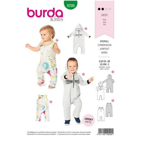 Wykrój BURDA: kombinezon zkapturem z rękawami lub bez rękawów, zzapięciem wkroku, fig. 1