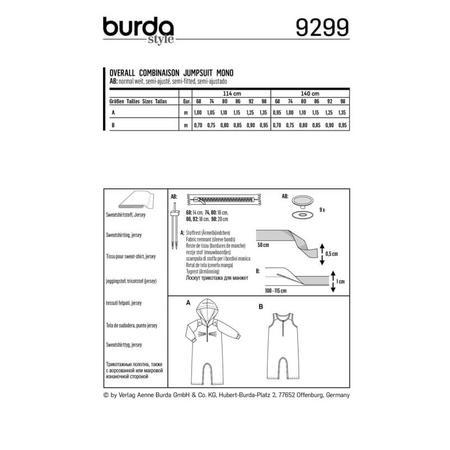 Wykrój BURDA: kombinezon zkapturem z rękawami lub bez rękawów, zzapięciem wkroku, fig. 8