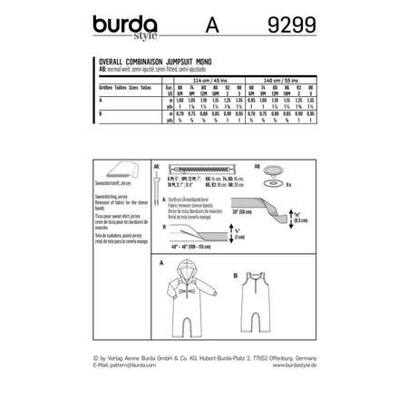 Wykrój BURDA: kombinezon zkapturem z rękawami lub bez rękawów, zzapięciem wkroku, fig. 9
