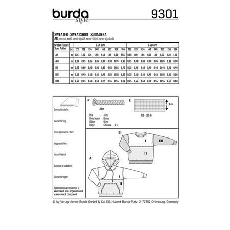 Wykrój BURDA: bluza zkapturem lub bez kaptura, fig. 8