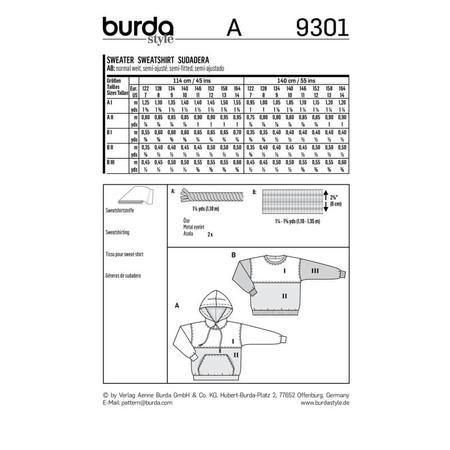 Wykrój BURDA: bluza zkapturem lub bez kaptura, fig. 9