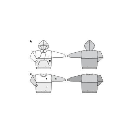 Wykrój BURDA: bluza zkapturem lub bez kaptura, fig. 10