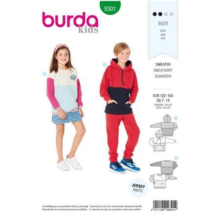 Wykrój BURDA: bluza zkapturem lub bez kaptura, fig. 1