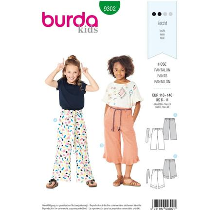 Wykrój BURDA: spodnie zgumą wpasie ikuloty o długości 7/8, fig. 1