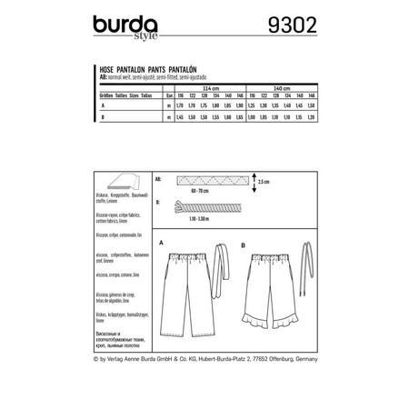 Wykrój BURDA: spodnie zgumą wpasie ikuloty o długości 7/8, fig. 8